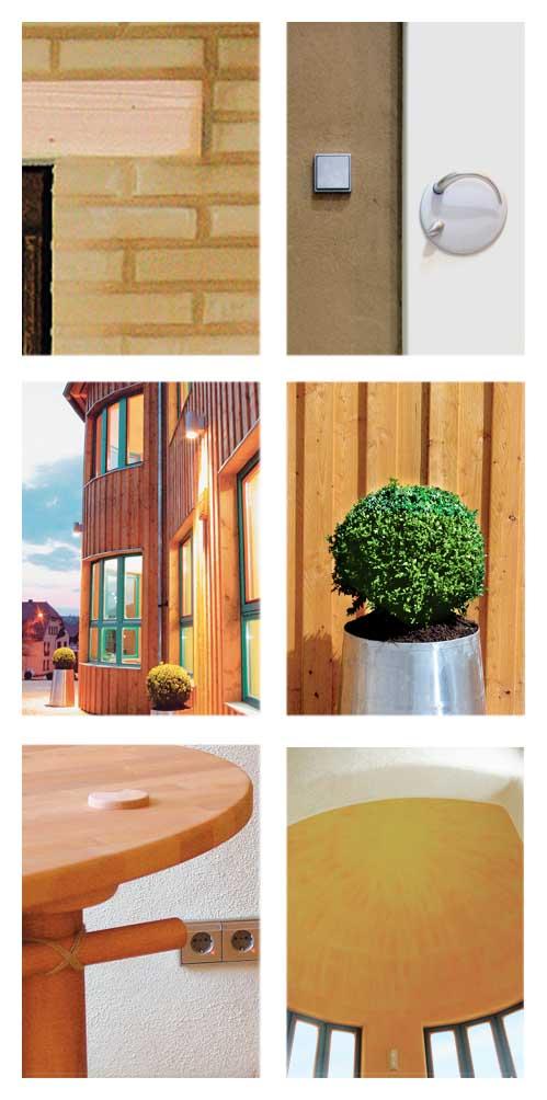 Detailansichten aus dem Firmengebäude der Rittweger + Team Werbeagentur in Suhl zur Illustration der verwendeten natürlichen Materialien