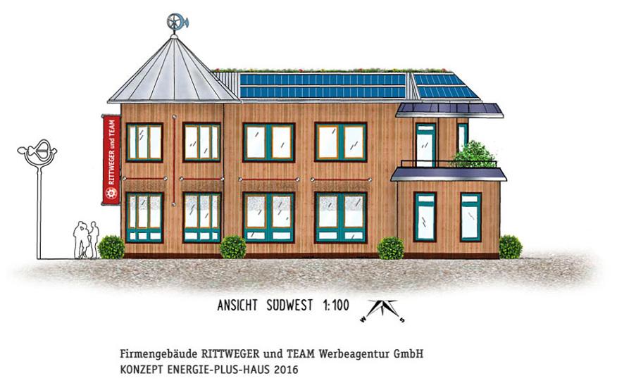 Ideenskizzen für ein energieautarkes Agenturgebäude von der RITTWEGER + TEAM Werbeagentur in Suhl/Thüringen