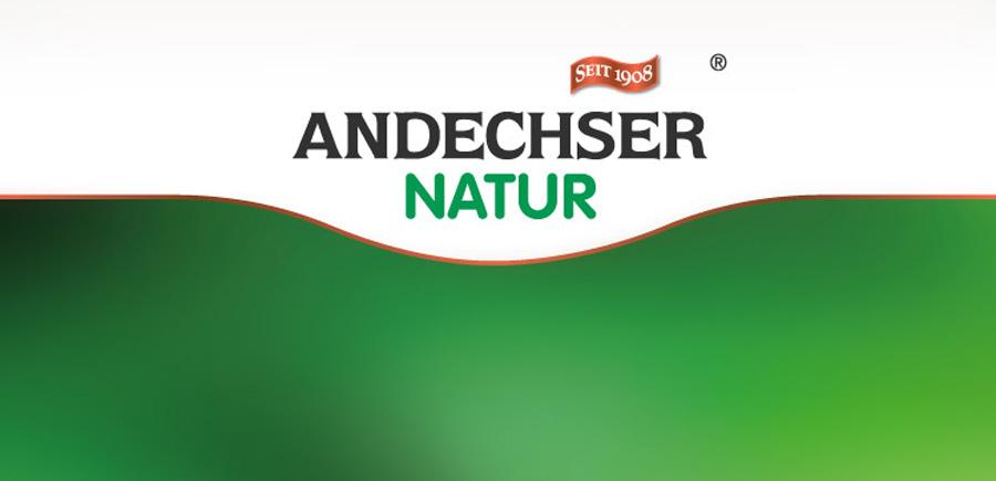 Markendesign der Marke Andechser Natur, die 2016 zu den TOP 5 nachhaltigsten Marken Deutschlands mit dem Deutschen Nachhaltigkeitspreis ausgezeichnet wird