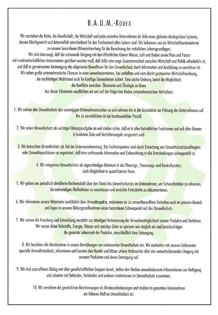 Die Werbeagentur RITTWEGER und TEAM verpflichtet sich seit 2006 dem Kodex des B.A.U.M. e.V.