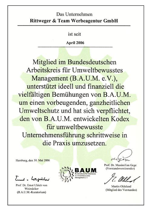 Mitgliedsurkunde der Werbeagentur RITTWEGER und TEAM im BAUM e.V.