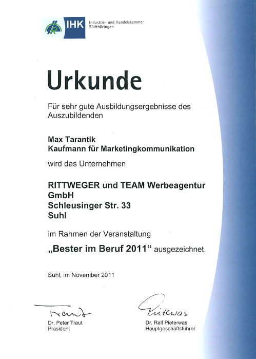 Urkunde Bester im Beruf 2011 für Auszubildenden der Rittweger und Team Werbeagentur verliehen durch die Industrie- und Handelskammer Südthüringen