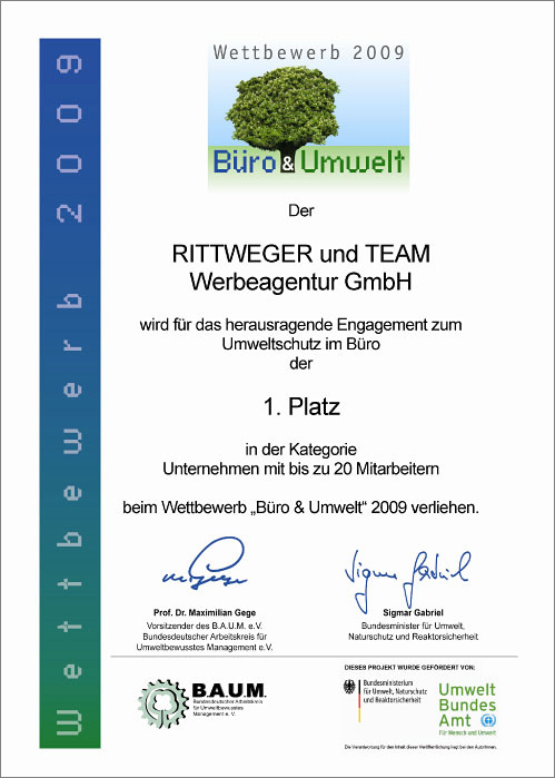 Urkunde der Rittweger und Team Werbeagentur für den ersten Platz beim Wettbewerb Büro & Umwelt 2009 für Unternehmen bis zu 20 Mitarbeitern