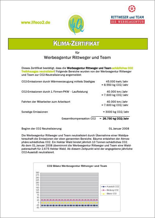 Klima-Zertifikat 2008 der Rittweger + Team Werbeagentur von lifeco2