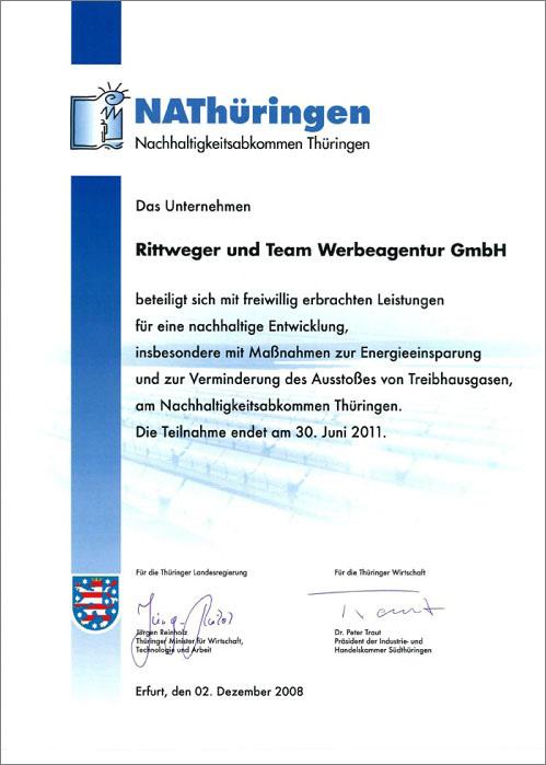 Zertifikat Nachhaltigkeitsabkommen Thüringen 2008 der Rittweger + Team Werbeagentur des NAThüringen