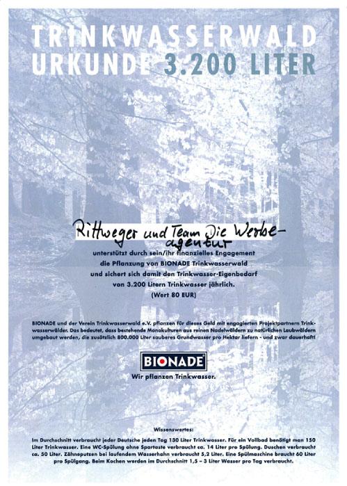 Urkunde Trinkwasserwald 2009 der Rittweger und Team Werbeagentur