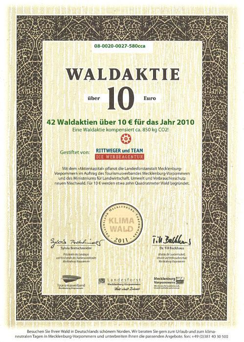 Zertifikat über den Erwerb von 42 Waldaktien von der Rittweger und Team Werbeagentur