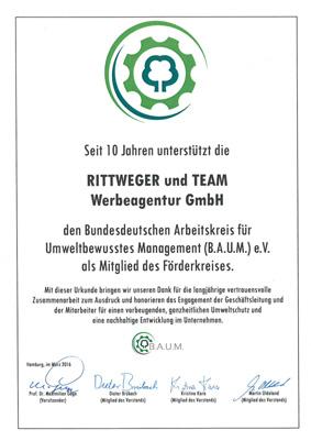 Urkunde für RITTWEGER + TEAM 10 Jahre Mitglied im B.A.U.M. e.V.