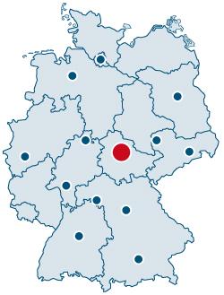 Deutschlandkarte mit Standortkennzeichnung der Rittweger und Team Werbeagentur in Erfurt / Thüringen in Mitteldeutschland