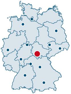 Deutschlandkarte mit Lage der Rittweger und Team Werbeagentur in Suhl innerhalb Deutschland