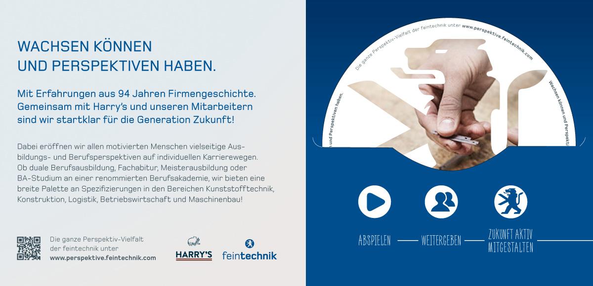 Kampagnenmotiv Wachsen können und Perspektiven haben zur Entwicklung der Arbeitgebermarke für die Feintechnik GmbH Eisfeld durch die Rittweger + Team Werbeagentur GmbH