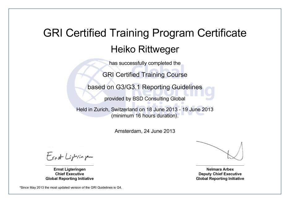 Zertifikat GRI Certified Training Programm der Global Reporting Initiative für die Rittweger und Team Werbeagentur