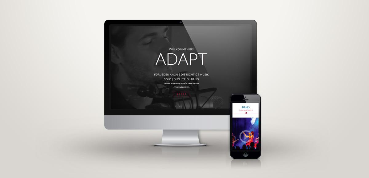 Darstellung der Internetseite der ADAPT Bookingagentur für Eventmusik mit Annred und Vinzenz Heinze auf Computer und Smartphone