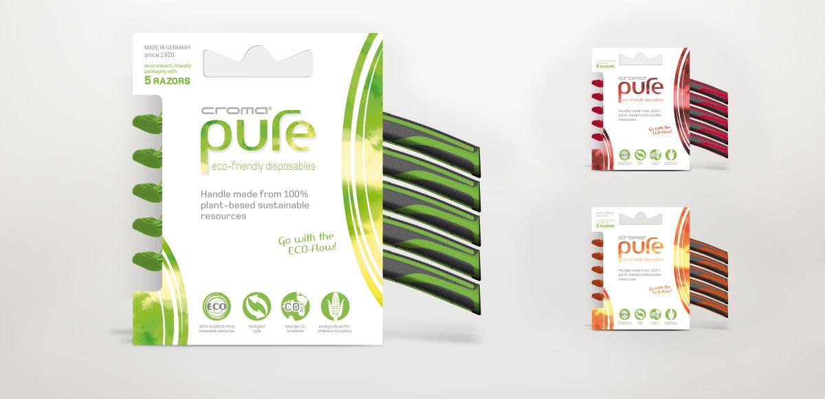 Cradle to Cradle Design für den Nassrasierer croma pure aus Biopolymeren in drei Farben der Feintechnik GmbH Eisfeld inklusive Verpackungsdesign