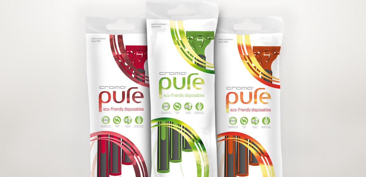 Beutel-Verpackungen für croma pure Rasierer aus Bio-Polymeren in drei Farben von der Feintechnik GmbH Eisfeld – Verpackungsdesign und Kommunikationskonzept durch die Rittweger + Team Werbeagentur