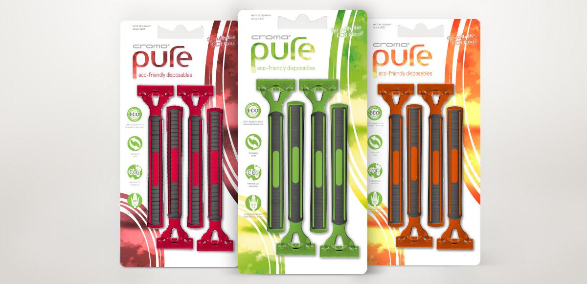 Verpackungen für croma pure Rasierer aus Bio-Polymeren in drei Farben von der Feintechnik GmbH Eisfeld – Verpackungsdesign und Kommunikationskonzept durch die Rittweger + Team Werbeagentur