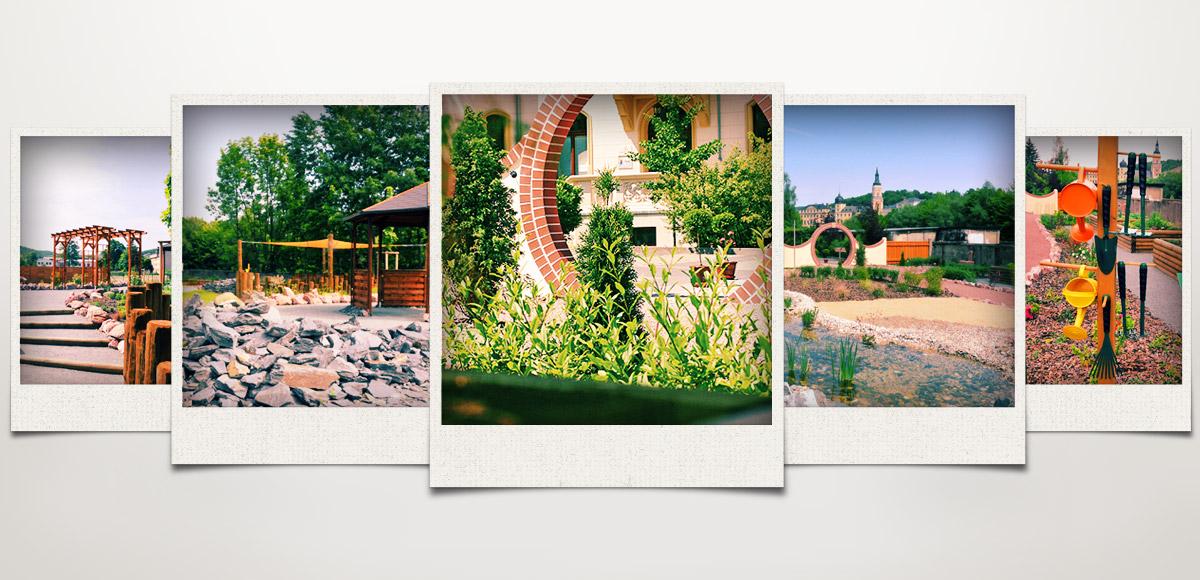 Fünf Aufnahmen aus dem Garten des Lebens Greiz – Marken- und Konzeptentwicklung sowie Visualisierung durch die Rittweger + Team Werbeagentur