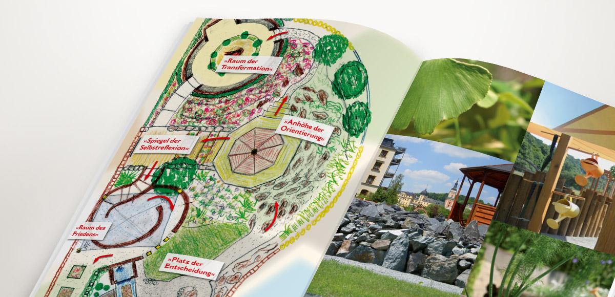 Flyer mit Grundriss und Detailaufnahmen Garten des Lebens Greiz – Flyergestaltung durch die Rittweger + Team Werbeagentur