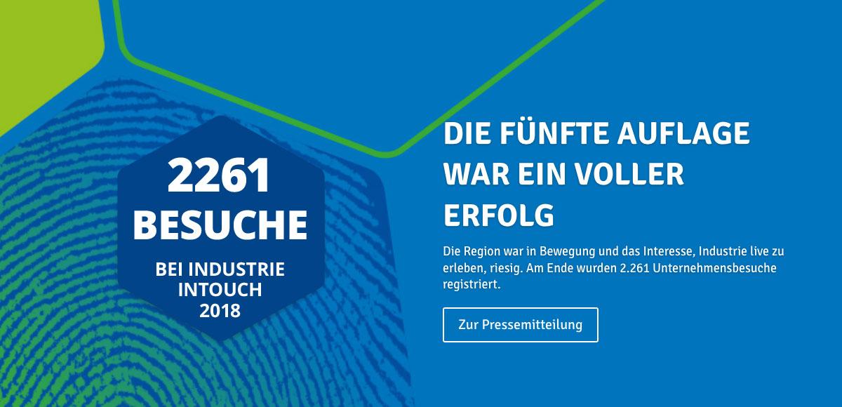 Banner zur fünften Auflage der Veranstaltung Industrie inTouch Thüringer Wald 2017 mit 2086 Besuchern – Hier klicken, um zur Pressemitteilung zu gelangen