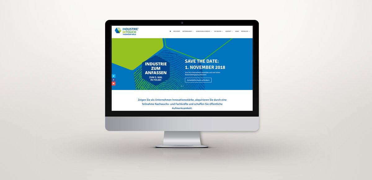 Startseite der Website der Veranstaltung Industrie inTouch Thüringer Wald – Webdesign und Suchmaschinenoptimierung durch die Rittweger + Team Werbeagentur