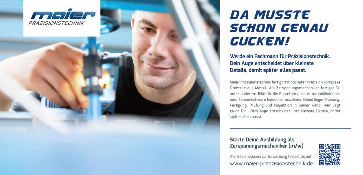 Maier Präzisionstechnik: Fachmann für Präzisionstechnik – Kampagnenentwicklung zum Aufbau der Arbeitgebermarke durch die Rittweger + Team Werbeagentur