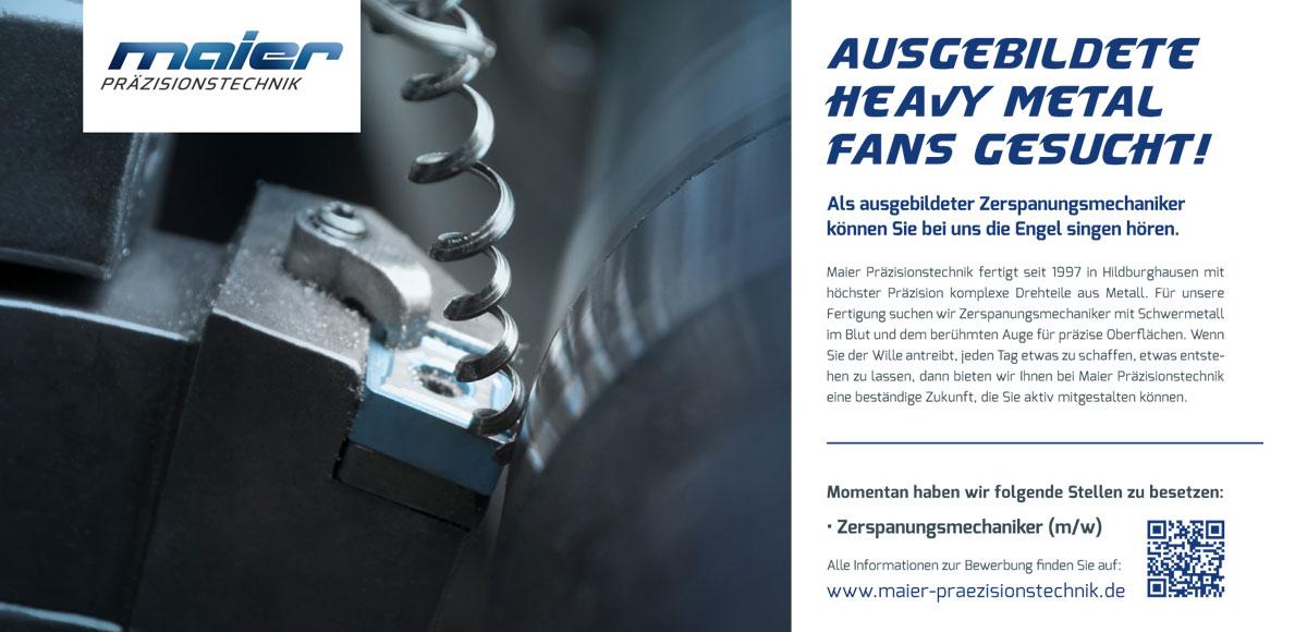 Maier Präzisionstechnik: Ausgebildete Heavy Metal Fans gesucht – Kampagnenentwicklung zum Aufbau der Arbeitgebermarke durch die Rittweger + Team Werbeagentur