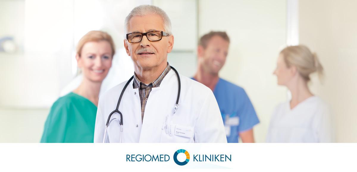 Logo der Regiomed Kliniken und Entwicklung Bildkonzept Personaldarstellung durch die Rittweger + Team Werbeagentur