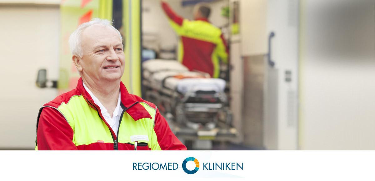 Logo der Regiomed Kliniken und Entwicklung Bildkonzept Notfallsanitäter durch die Rittweger + Team Werbeagentur