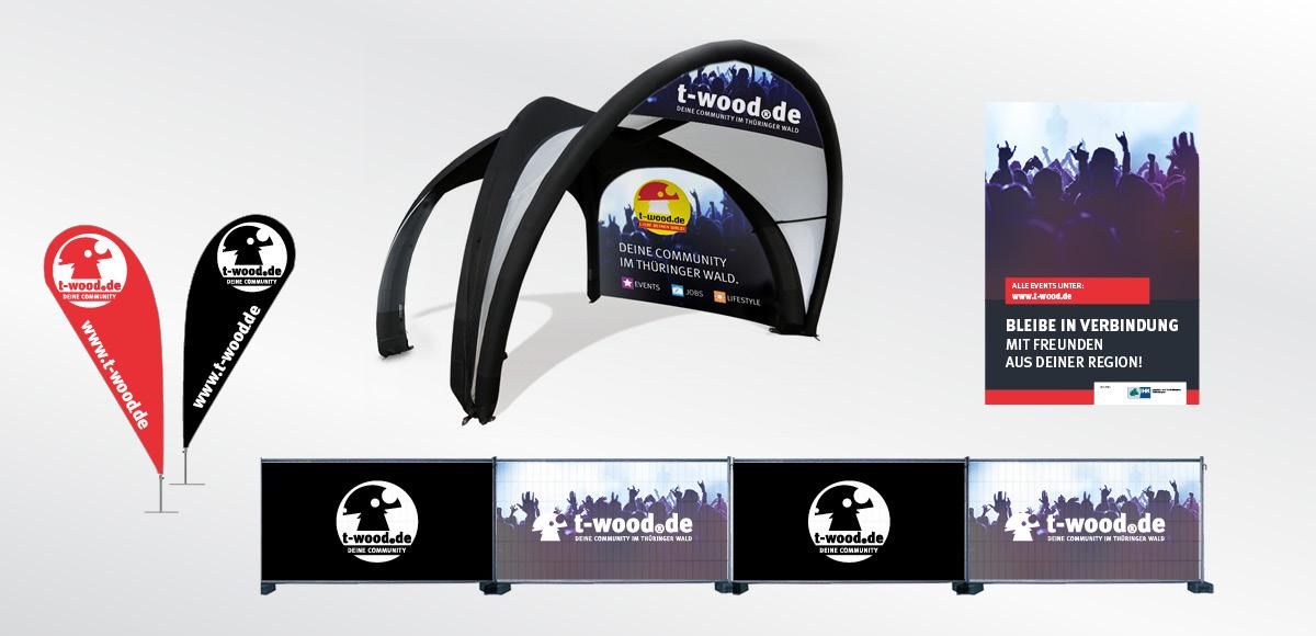 Werbemittel der Jugendcommunity t-wood.de deine Community! - Corporate Design für Fahne, Zelt, Bauzaun