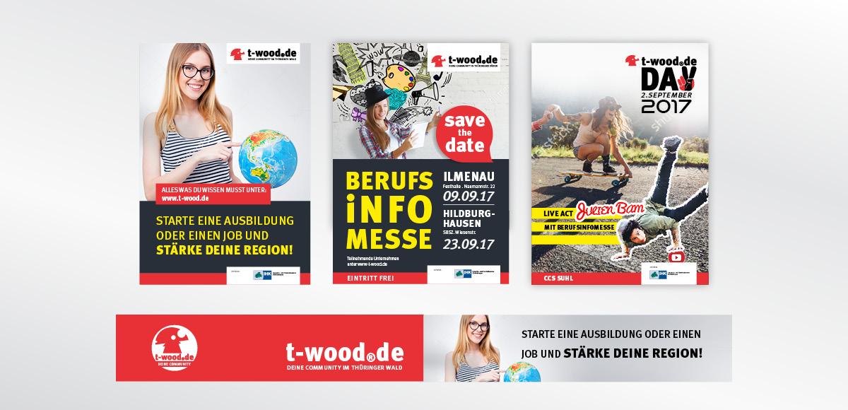 Pop-up Displays t-wood.de deine Community zur Präsentation der Jugendcommunity mit den Bereichen Events, Jobs und Lifestyle