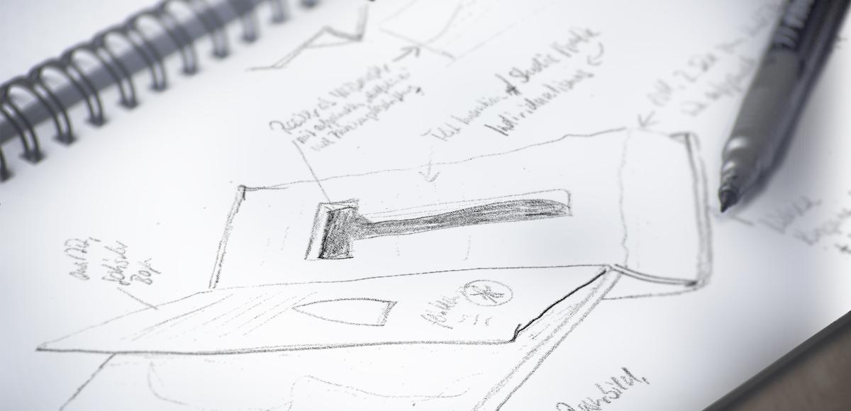 Ideenskizze zum Aufbau des Revolverbuchs der Feintechnik Eisfeld GmbH