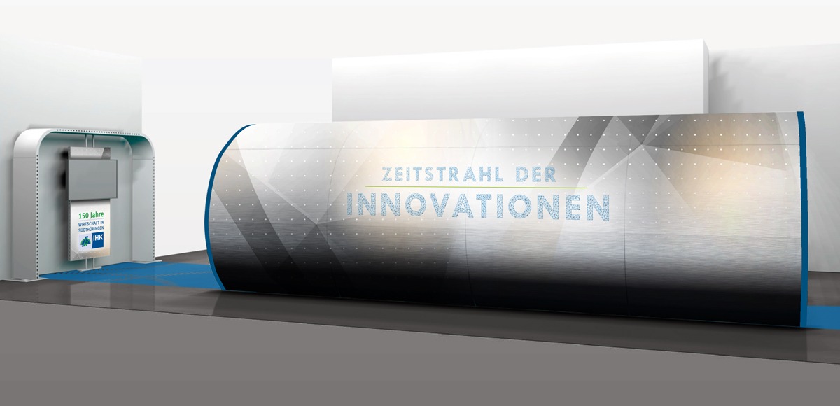 Messestand Zeitstrahl der Innovationen der IHK Südthüringen