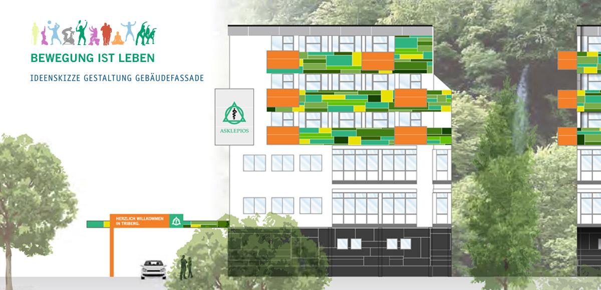 Ideenskizze zur Fassadengestaltung der Asklepios Klinik Triberg