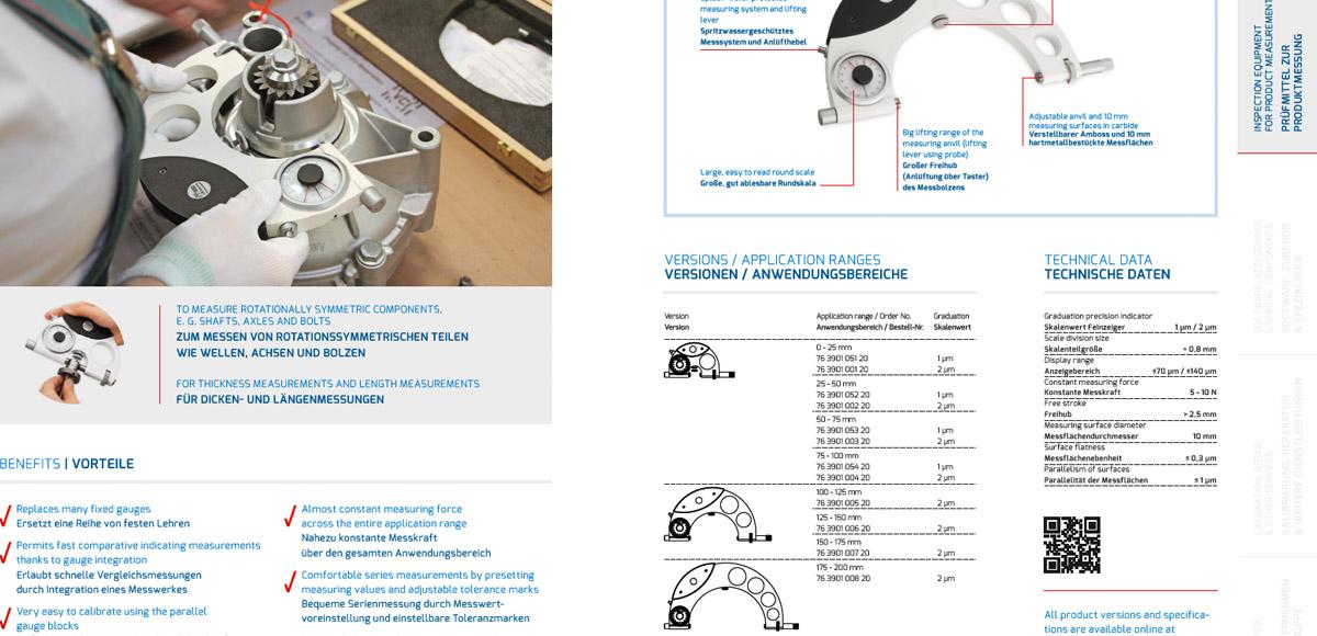 Innenseite aus dem Produktkatalog der Steinmeyer Feinmess Suhl mit Vorteilen, Anwendungsbereichen und Technischen Daten eines Präzisionsmessmittels