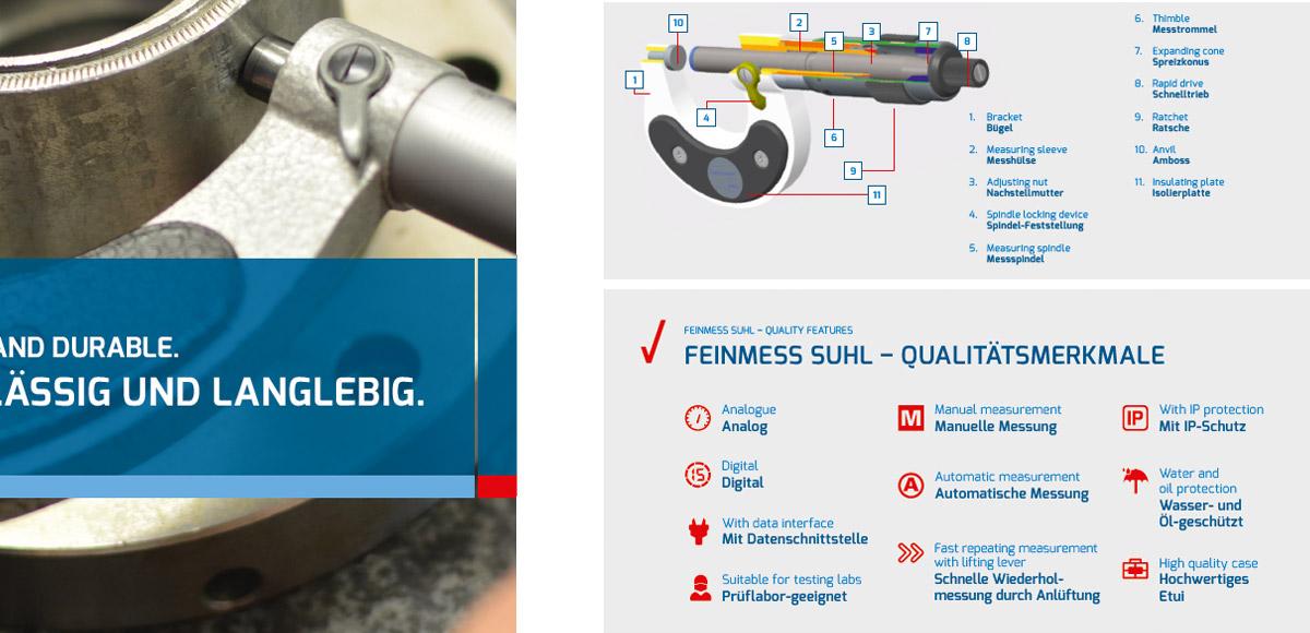 Innenseite aus dem Produktkatalog der Steinmeyer Feinmess Suhl zu den Qualitätsmerkmalen der Marke und den Präzisionsmessmitteln