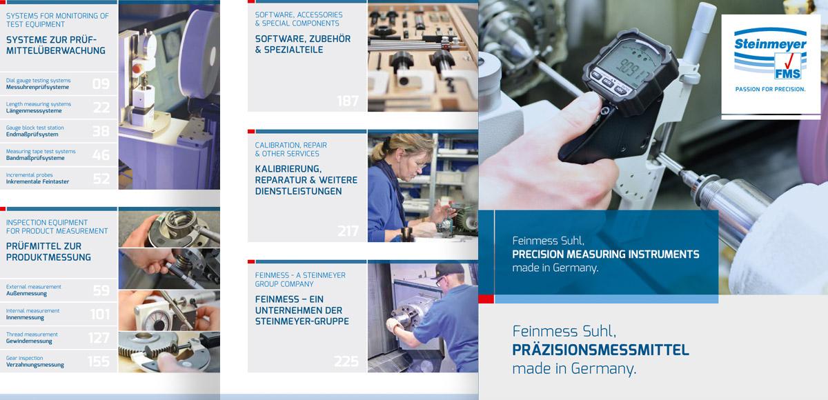 Titelseite und Inhaltsübersicht Produktkatalog Steinmeyer Feinmess Suhl über Präzisionsmessmittel aus Deutschland