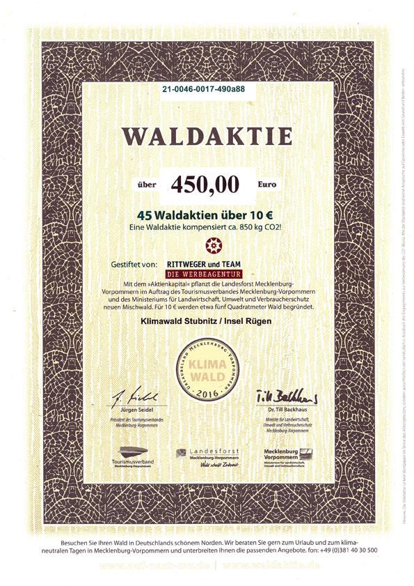 Zertifikat zur Waldpatenschaft 2012 durch den Erwerb von 45 Waldaktien durch die RITTWEGER + TEAM Werbeagentur