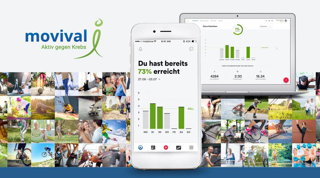 Kommunikationskonzept für die Medical App movival Aktiv gegen Krebs – Bewegung nach Krebs mit Darstellung der App auf dem Smartphone und dem Computer