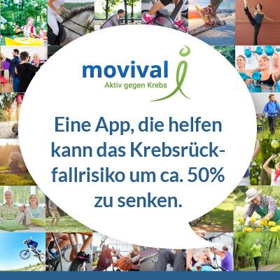 """Kommunikationskonzept & Öffentlichkeitskampagne Medical App movival® """"Aktiv gegen Krebs"""" – Bewegung nach Krebs"""