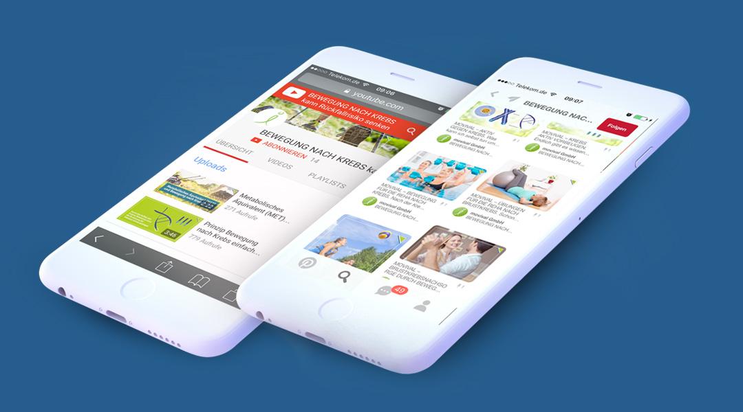 Darstellung der PR-Maßnahmen im Rahmen der Öffentlichkeitskampagne für die Medical App movival Aktiv gegen Krebs – Bewegung nach Krebs auf dem Smartphone