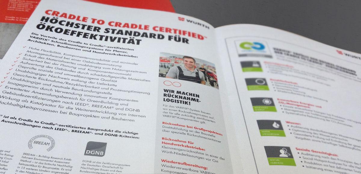 Kommunikationskonzept Cradle to Cradle® in der Bauindustrie für die Adolf Würth GmbH & Co. KG mit aufgeschlagener Seite zur Cradle to Cradle Zertifizierung Höchster Standard für Ökoeffektivität