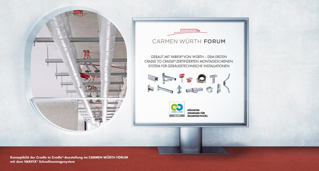 Konzeptbild der Cradle to Cradle Ausstellung im CARMEN WÜRTH FORUM mit dem VARIFIX® Schnellmontagesystem, de, ersten Cradle to Cradle zertifizierten Montageschienensystem für Gebäudetechnische Installationen