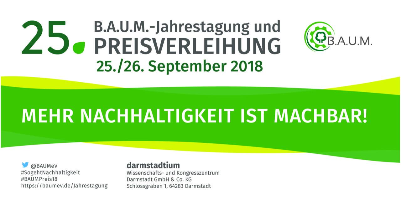 25. BAUM Jahrestagung und Preisverleihung am 25. und 26. September 2018
