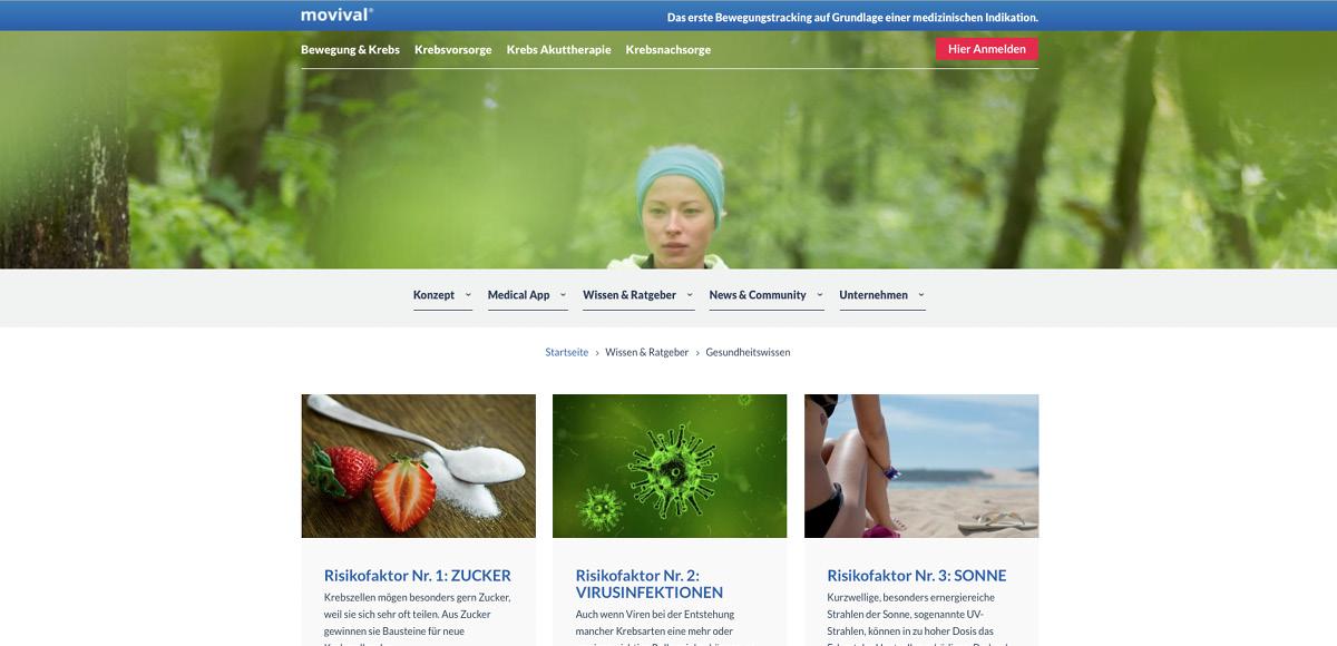 Webseitenmotiv Wissen und Ratgeber zu einem gesunden Lebensstil