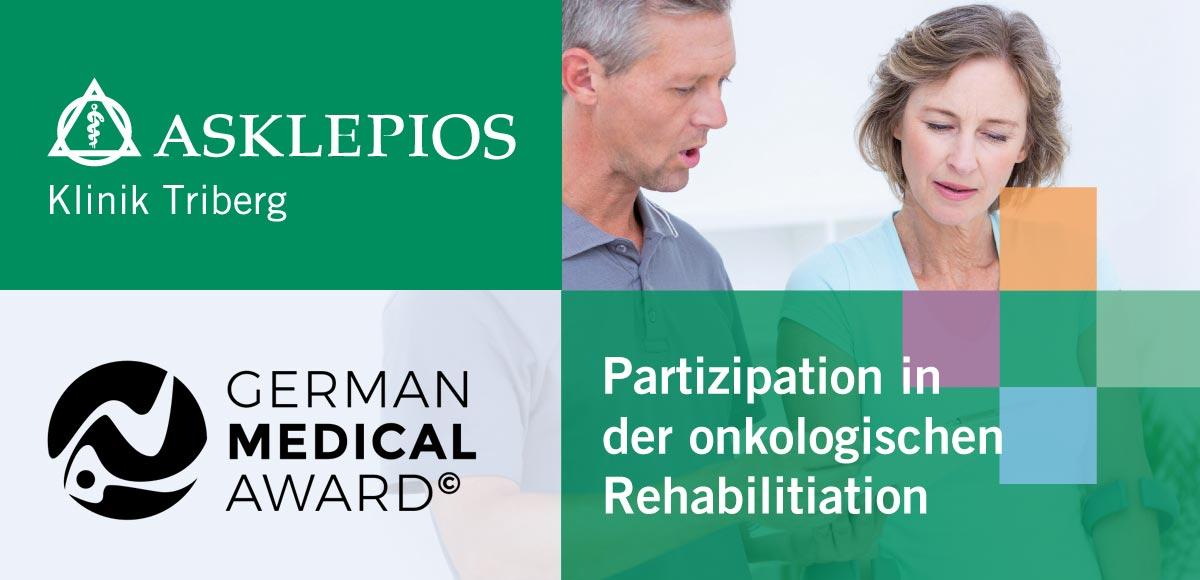 Konzeptmotiv Partizipation in der onkologischen Rehabilitation der Asklepios Klinik Triberg mit Logo des German Medical Award