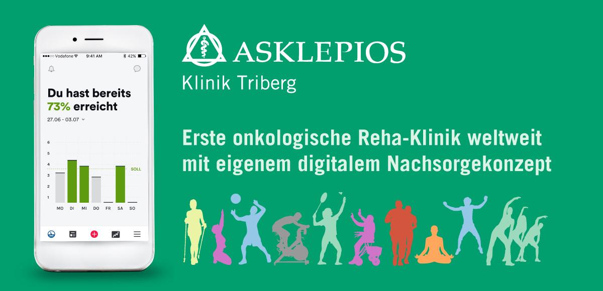 Smartphone mit App der Aklepios Klinik Triberg - Erste ontologische Reha-Klinik weltweit mit eigenem digitalem Nachsorgekonzept