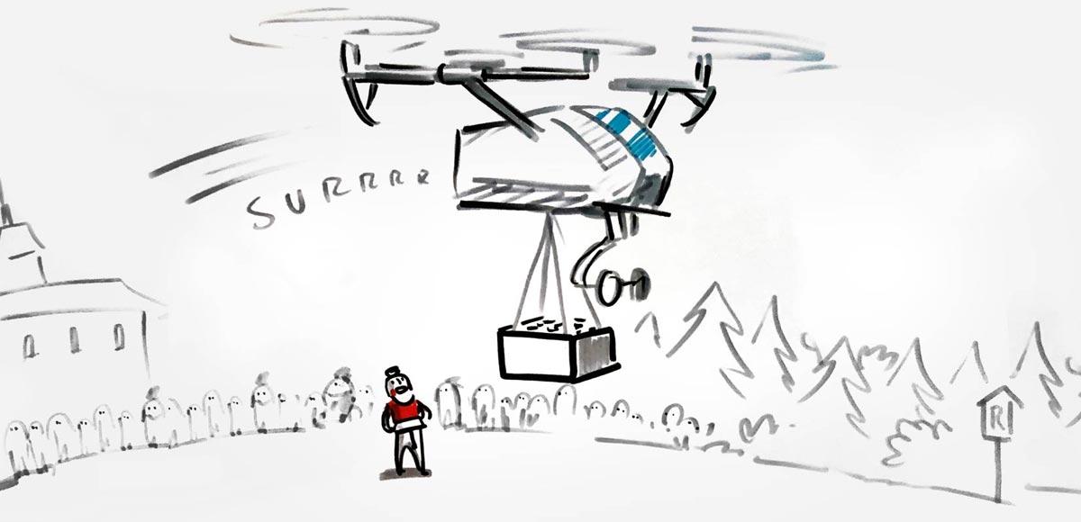 Skizze Konzept Drone Innovation Challenge mit fliegender Krone
