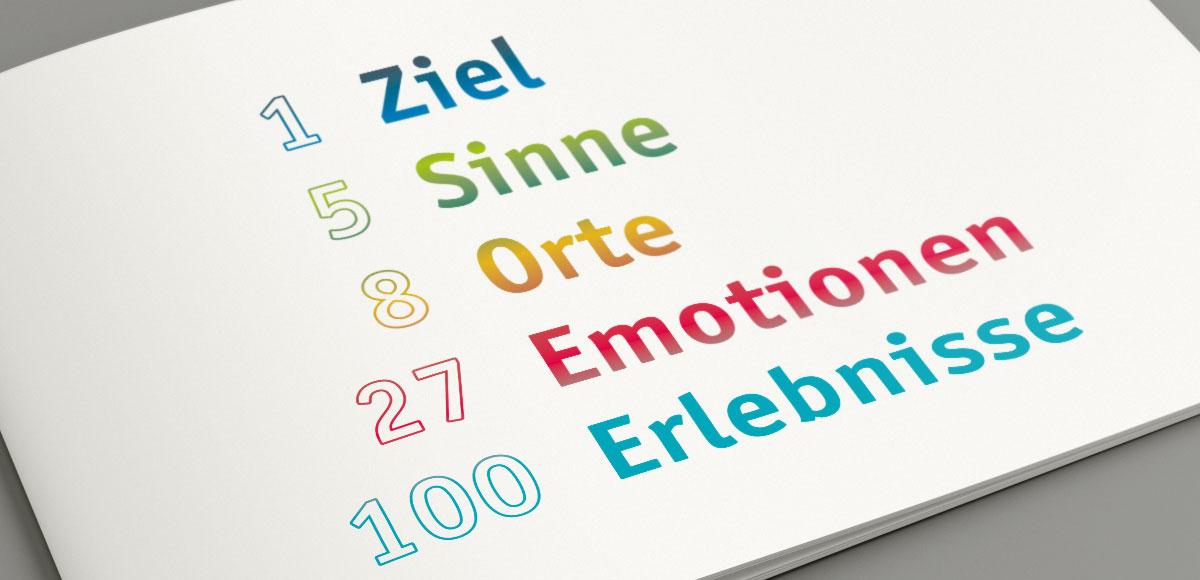Konzept für touristisches 5-Sinne-Puzzle: 1 Ziel, 5 Sinne, 8 Orte, 27 Emotionen, 100 Erlebnisse