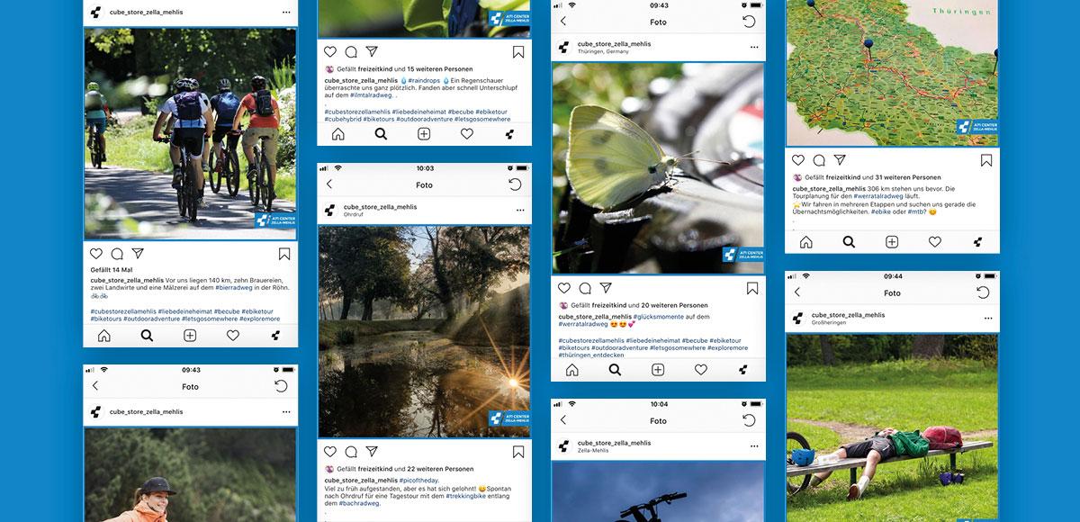 Übersicht Einzelposts Bike-Touren vom CUBE STORE Zella-Mehlis Instagram Kampagne