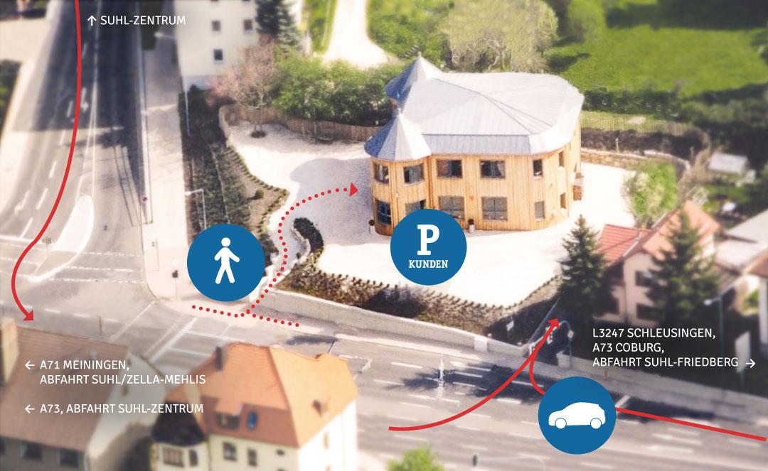 Weg zur Rittweger und Team Werbeagentur nach Suhl - Strecken zu Fuß und mit dem Auto
